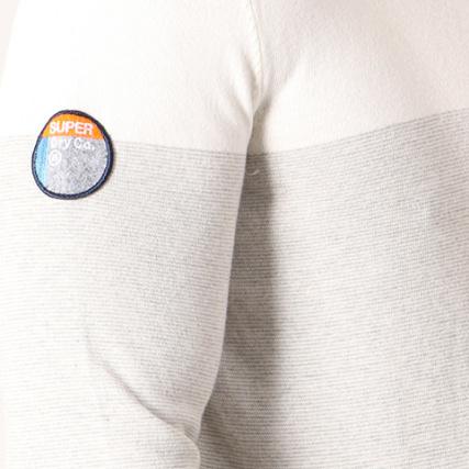Sweats Pull Gris Blanc Liner Chiné Stripe gt; Pulls M61002kq Superdry Home qWFOWU4