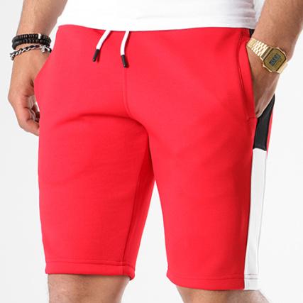 LBO Short Jogging Poly 431 Rouge Bandes Blanc Et Noir