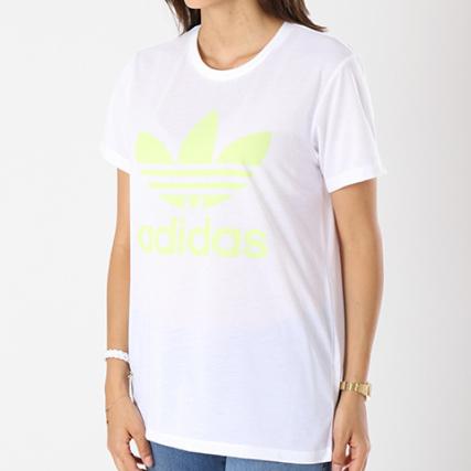 Ce4192 Tee Femme Oversize Adidas Fluo Jaune Blanc Shirt nIAq66czv