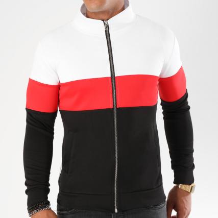 Blanc 101 Noir Rouge Zippé Tricolore Aarhon Sweat 4TqwgAn5w