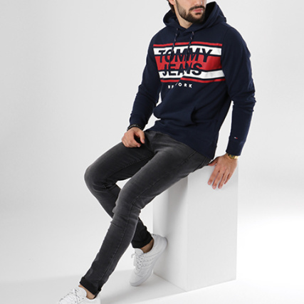 Jeans gt; Hilfiger Graphi Tommy Pulls Sweats Bleu Capuche Home 4850 Marine Sweat Essential EpaxqE