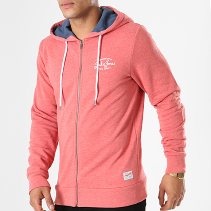 Jack Jones Sweat Zippé Capuche Chiné Goal And Rouge rrPxwq1