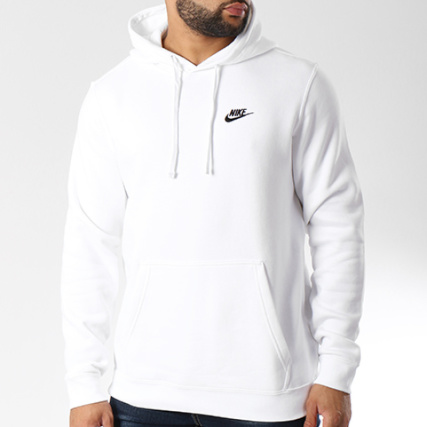Nike 100 804346 Club Fleece Sweat Capuche Blanc rqrw40