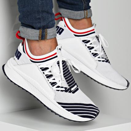 10496cd4b3e Puma - Baskets Tsugi Jun Sport Stripes 367519 01 White Peacoat Red -  LaBoutiqueOfficielle.com
