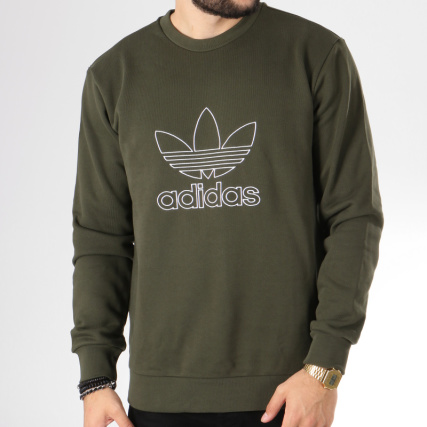 Crewneck Kaki Sweat Dh5762 Outline Adidas Vert pq6x14