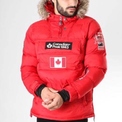 Fourrure Boreak Brodés Peak Rouge Patchs Canadian Doudoune wq81ExXn0