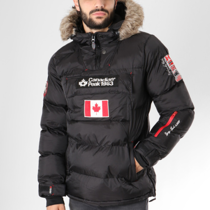 b5975dad8ec3 Brodés Noir Patchs Boreak Doudoune Fourrure Peak Canadian qwBxf6