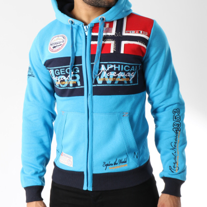 Clair Zippé Sweat Norway Flyer Bleu Capuche Geographical EAwBY4qq