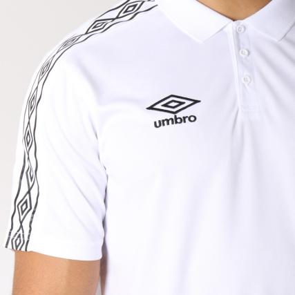 Umbro - Polo Manches Courtes De Sport Bande Brodée Diamond Blanc Noir VMBXalMDW