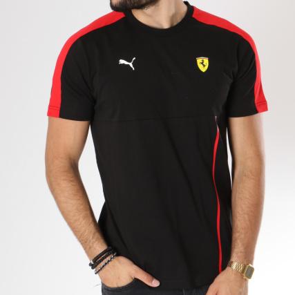 Puma Tee Shirt Avec Bande T7 Ferrari 576702 Noir Rouge