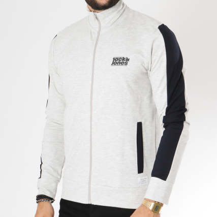 And Jones Veste Baseball Gris Blanc Noir Chiné Jack Loop Zippée wgqwdv