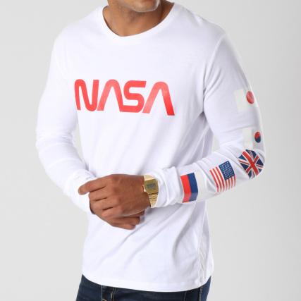NASA - Tee Shirt Manches Longues Flags Blanc Rouge -  LaBoutiqueOfficielle.com 37e820663e7e