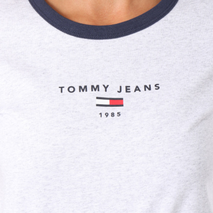 Home   Tommy Jeans   T-shirts   Tommy Hilfiger Jeans - Tee Shirt Femme  Ringer 5280 Gris Chiné 424924624c21