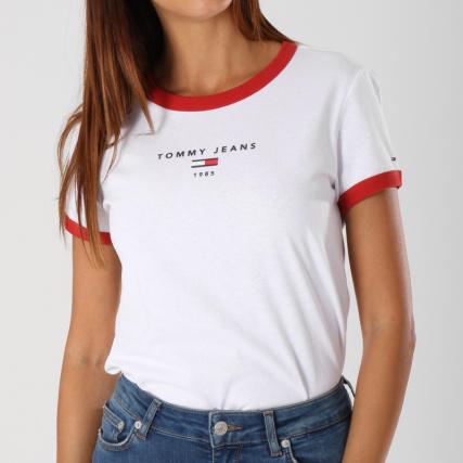 Tommy Hilfiger Jeans - Tee Shirt Femme Ringer 5280 Blanc -  LaBoutiqueOfficielle.com 029000e90321