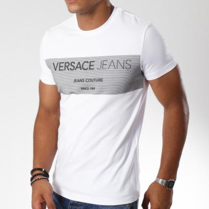 9054f763fe5 Versace Jeans - Tee Shirt Print B3GSB74J Blanc - LaBoutiqueOfficielle.com