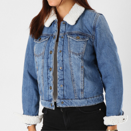 Chris Col Veste Jean Mouton Only Denim Bleu Femme p46zx