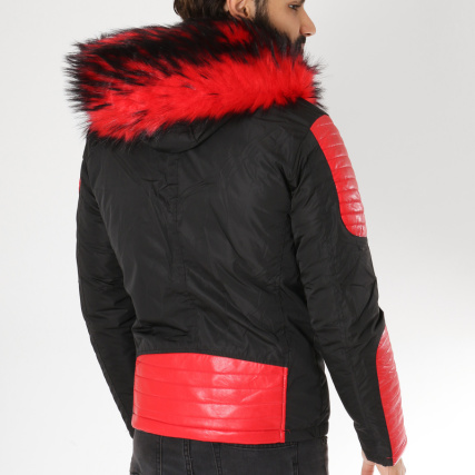 Noir MTX Fourrure S731 Blouson Rouge trYxwYPq0