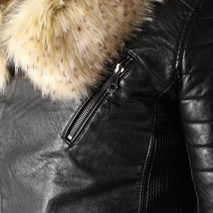 Noir Biker Veste Mtx Fourrure S819 Beige IZR5gInOx