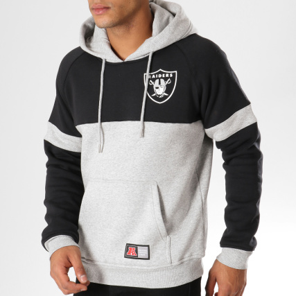 Gris Capuche Chiné Noir Nfl Wells Fashion Oakland Athletic Sweat Majestic Raiders 8Sxf17