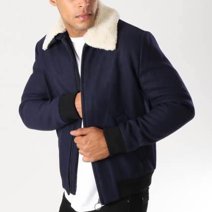 f61730e76ab08 Selected - Veste Zippée Col Mouton Want Wool Bleu Marine -  LaBoutiqueOfficielle.com