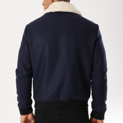 Bleu Veste Selected Col Blousons Vestes Mouton Home gt; Wool Zippée Want Marine vfxqaZqw
