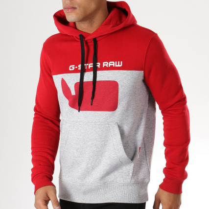 ad46b5732bc86 G-Star - Sweat Capuche Graphic 10 Core D12591-A433 Gris Chiné Rouge -  LaBoutiqueOfficielle.com