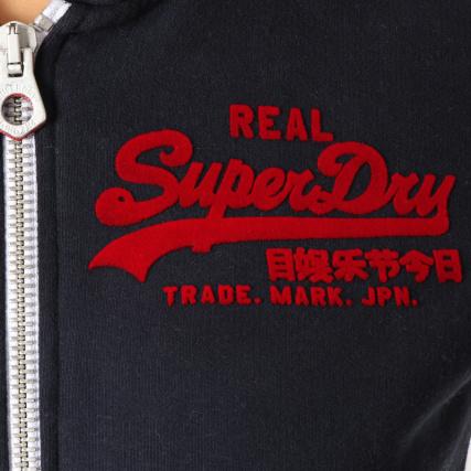 Avec Capuche Home Entry gt; Zippé Logo Superdry Zippés Pulls Vintage Sweat Bandes Marine Sweats Bleu wAXqwx