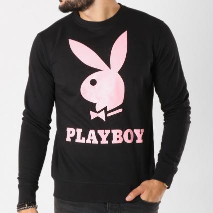 Logo gt; Sweat Rose Home Sweats Pulls Rond Col Playboy Crewneck Noir UxPOqf8