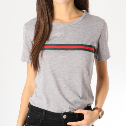 23fe9eea56b2e Girls Only - Tee Shirt Femme Bandes Brodées 0152 Gris Chiné Vert Rouge -  LaBoutiqueOfficielle.com
