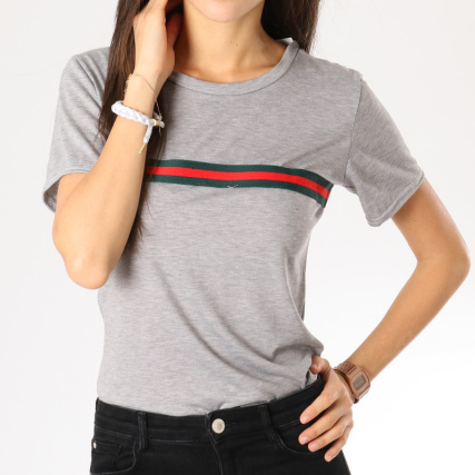 dbc371d8c81db Home   Girls Only   T-shirts   T-Shirts Longs - Oversize   Girls Only - Tee  Shirt Femme Bandes Brodées 0152 Gris Chiné Vert Rouge