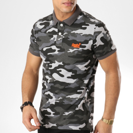 f2e556ae2937 Camouflage Pique Classic Gris Superdry Polo Manches Courtes WzWc8an
