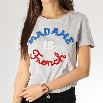 2988437683098 Only - Tee Shirt Femme Kita Gris Chiné - LaBoutiqueOfficielle.com